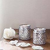 Pair of Silver Glass Battery LED Tea Light Jars