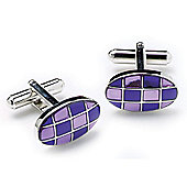 Lilac and Purple Check Oval Cufflinks