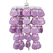 Childrens Owl Droplet Ceiling Light Pendant Shade in Purple