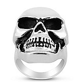 Urban Male Solid Stainless Steel Large Two Colour Polished Skull Ring For Men