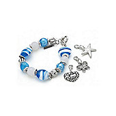 Chunky Blue Stripe Bead Charm Bracelet with 3 Charms