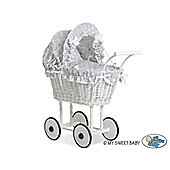 Handmade Girls Dolls Pram White Wicker - Grey