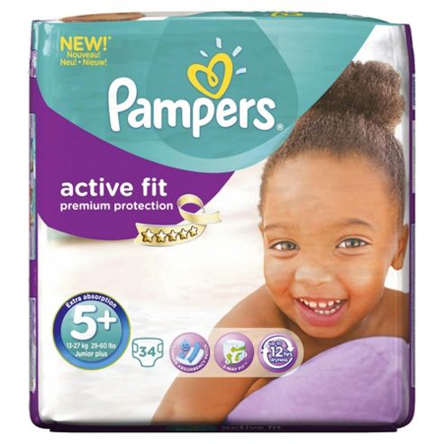 Pampers Active Fit Size 5+ Essential Pack - 34 nappies
