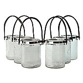 Set of 6 Retro Patterned Clear Glass Tealight Holders or Vases