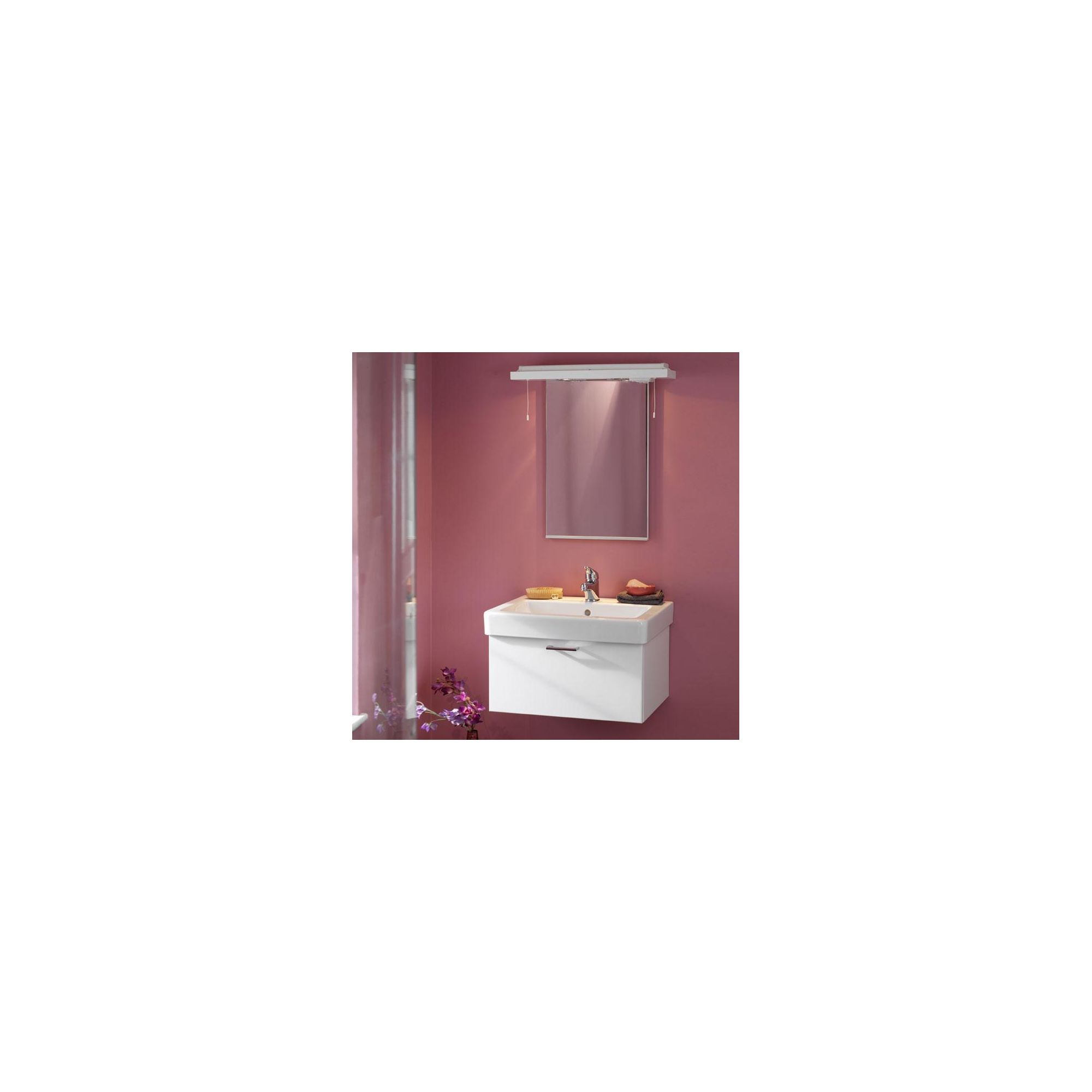Duchy Trerise White Wall Hung 1 Drawer Vanity Unit and Basin - 600mm Wide x 445mm Deep including Mirror and Cornice