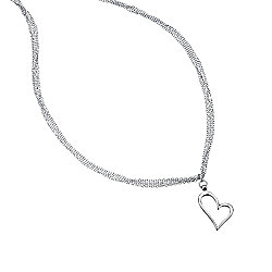 Silver Open Heart Pendant on Multi Chain Necklace