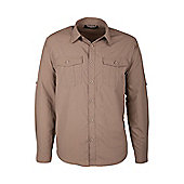 Travel Mens Long Sleeve Convertible Breathable Lightweight Walking Hiking Shirt - Beige