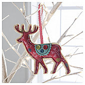 Fabric Reindeer Snowflake Design Hanging Decoration