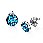 Urban Male Men's Stainless Steel Blue Shimmer Stud Earrings 7mm