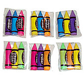 Stationery Crayon Shaped Erasers (3pk)