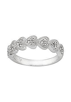 Gemondo Sterling Silver 0.25ct Marcasite Seven Hearts Ring