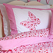Pink Butterfly Cotton Children's Single Duvet Set