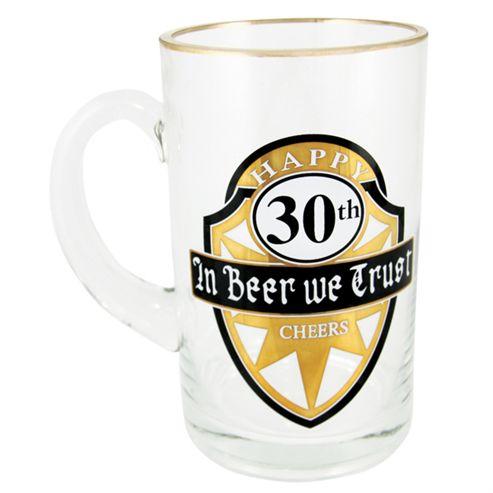 30th Birthday Glass Beer Stein