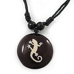 Unisex Black/ White Resin Medallion 'Gecko Lizard' Cotton Cord Pendant - Adjustable