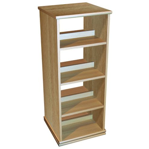 Techstyle 4 Tier Rotating CD DVD Blu-ray Game Storage Shelves - Oak