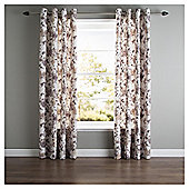 Hand Painted Floral Lined Eyelet Curtains - Natural
