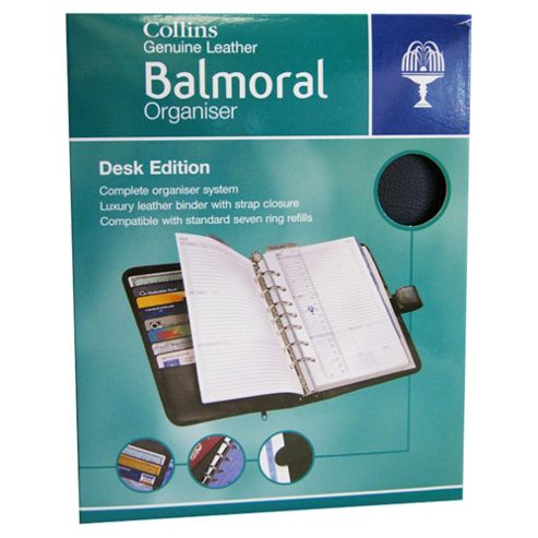 Collins Balmoral Premium Leather A5 Desk Size Organiser, Black