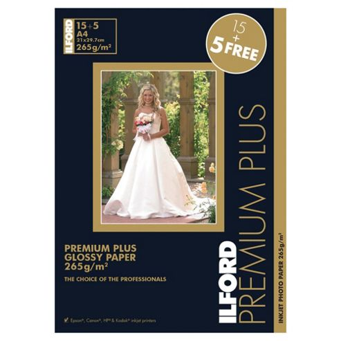 Ilford premium plus glossy inkjet paper - 20 sheets