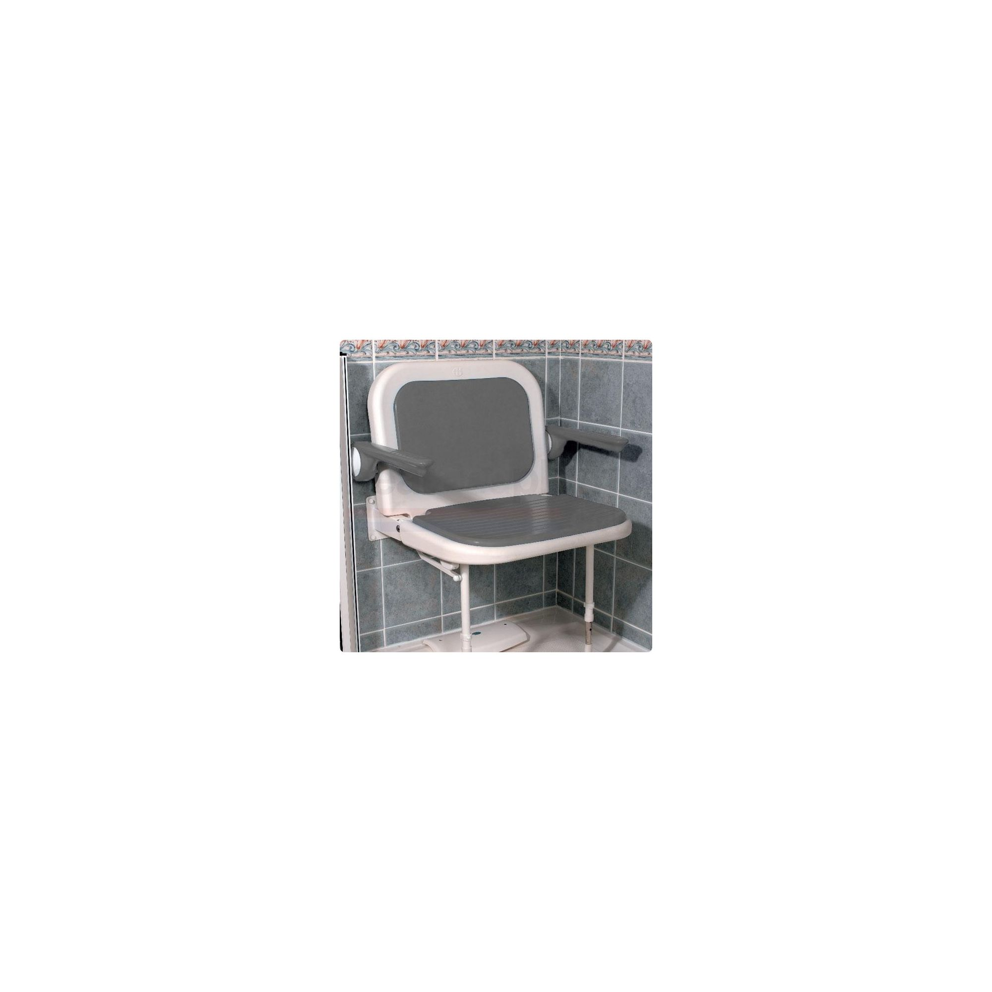 AKW 4000 Series Extra Wide Fold Up Shower Seat Grey with Back and Grey Arms at Tesco Direct