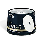 TDK 4.7 GB DVD-R Blank Disk 50 Pack