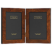 Addison Ross Marquetry Double Portrait Photo Frame with Dark Brown Poplar Fibre Back - 4 in x 4 in