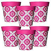 6 x 22cm Pink Tile Plastic Garden Planter 5L Flowerpot by Hum