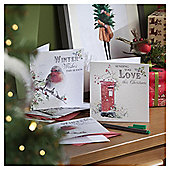 Robin and Postbox Christmas Cards, 20 pack