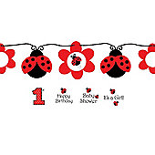 Ladybug Party Customisable Ribbon Banner - 5.5ft (each)