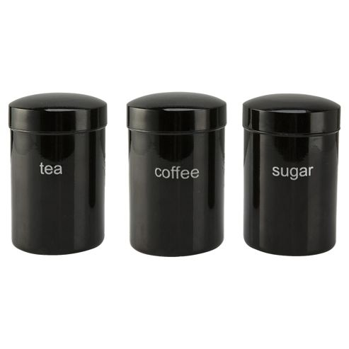 Tesco Black Tin Canister Plain, 3 Pack