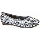 Skittles Girls Sparkle Gem Grey Ballerina Shoes - Grey