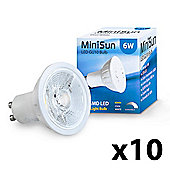 Pack of 10 Dimmable 6W COB LED GU10 Bulbs in Cool White