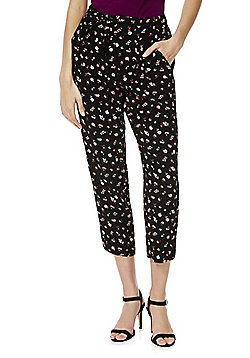 F&F Ditsy Floral Print Cropped Tapered Trousers - Black