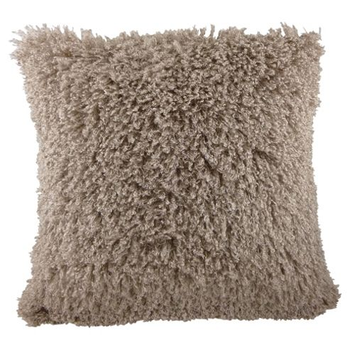 Faux Mongolian Cushion Taupe