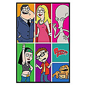 Gloss Black Framed American Dad Character Collage Poster