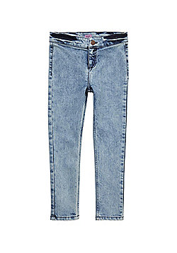 F&F Acid Wash High Waisted Skinny Fit Jeans - Blue