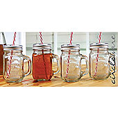 Circleware Country Mason Jar Mugs with Lid, Set of 4