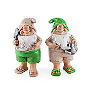 Connor & Caleb the Summertime Garden Gnome Ornaments in Flip-flops