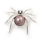 Small Pearl 'Spider' Brooch In Rhodium Plated Metal -3cm Length