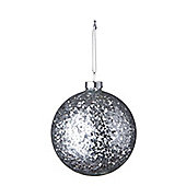 Glass Bauble With Silver Confetti - Christmas Tree Decoration