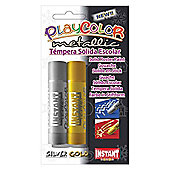 Playcolor Metallic One 10g Solid Poster Paint Stick (Pack of 2 - One Gold and One Silver)
