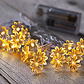 20 Warm White LED Sunflower Battery Fairy Lights