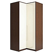 Modular Walnut Corner Wardrobe With Ivory Gloss Doors