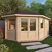 17ft x 10ft (5m x 3m) Corner PLus Log Cabin (Single Glazing) 44mm **Left Side Entrance