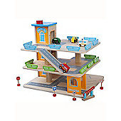 Wooden Toy Car Park with Lift