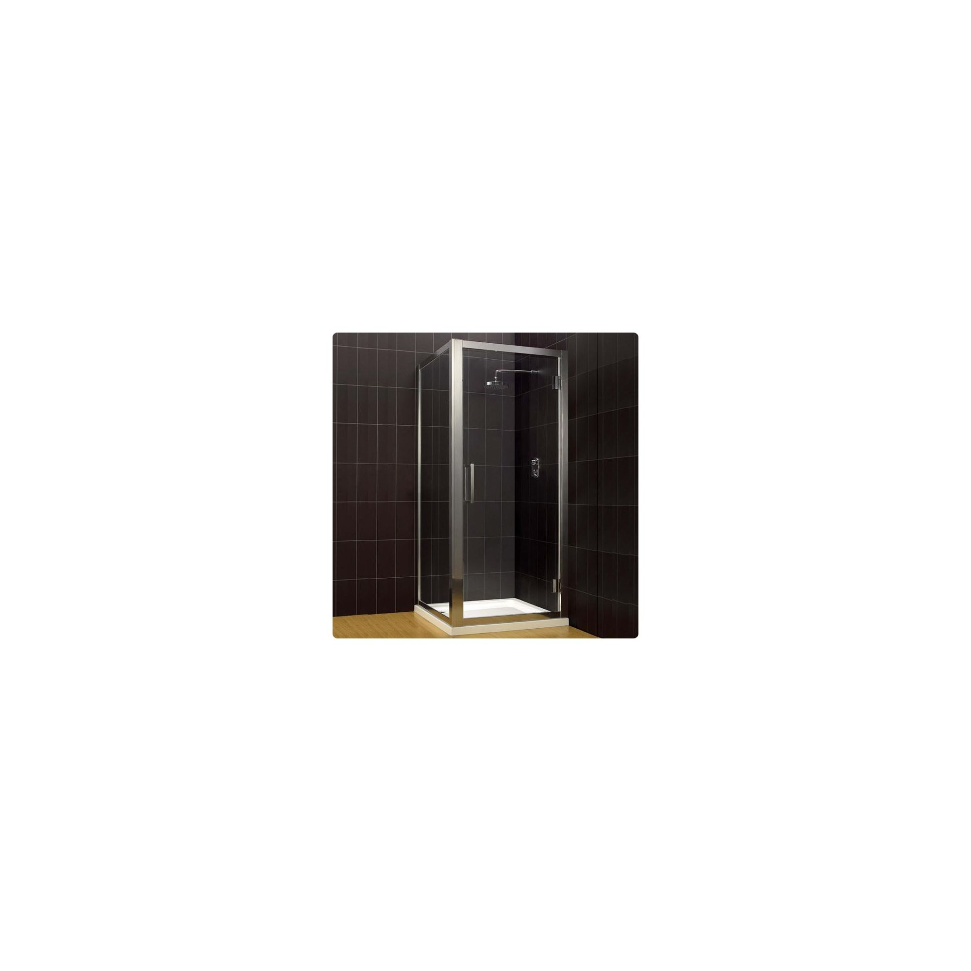 Duchy Supreme Silver Hinged Door Shower Enclosure with Towel Rail, 700mm x 700mm, Standard Tray, 8mm Glass at Tesco Direct