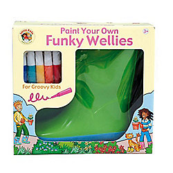 Kids Funky Paint Your Own Green Wellies (Large)