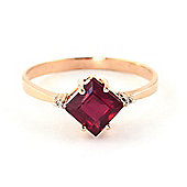 QP Jewellers Diamond & Ruby Princess Ring in 14K Rose Gold