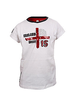 RFU Official England Rugby Union Girls Cross Of St George Sequined Tee - White