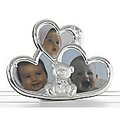 Baby 3 Pic Metal Photo Frame - Silver