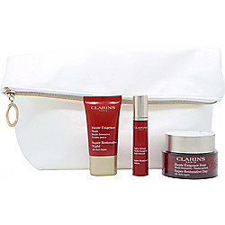 Clarins Haute Exigence Gift Set 50ml Super Restorative Day Cream + 15ml Super Restorative Night Cream + 10ml Super Restorative Serum + Pouch